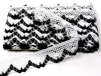 Paličkovaná krajka 75261 bavlněná, šířka40 mm, bílá/černá - 3