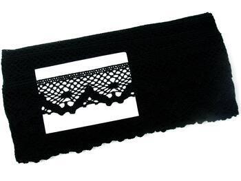 Paličkovaná krajka 75261 bavlněná, šířka40 mm, černá - 3