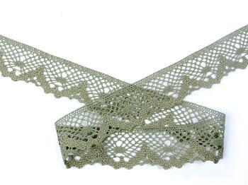 Cotton bobbin lace 75261, width 40 mm, dark linen gray - 3