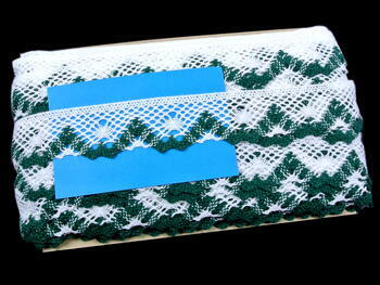 Bobbin lace No. 75261 white/green | 30 m - 3