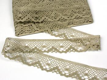 Linen bobbin lace 75261, width 40 mm, 100% linen natural - 3