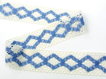 Cotton bobbin lace insert 75264, width43mm, ivory/sky blue - 3