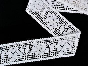 Cotton bobbin lace insert 75269, width53mm, white - 3