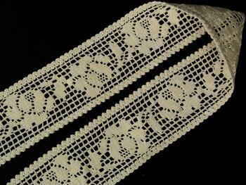 Cotton bobbin lace insert 75269, width53mm, ecru - 3