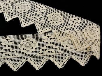 Cotton bobbin lace 75126, width 120 mm, ecru - 3