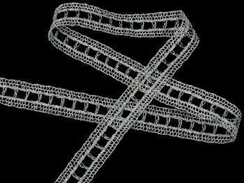 Metalic bobbin lace insert 75281, width18mm, Lurex silver - 3