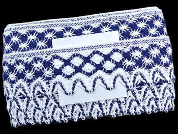 Bobbin lace No. 75293 white/dark blue | 30 m - 3
