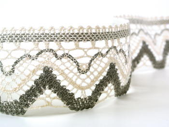 Bobbin lace No. 75301 ecru/dark linen | 30 m - 3