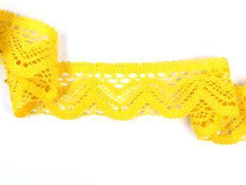 Paličkovaná krajka 75301 bavlněná, šířka 58 mm, žlutá - 3