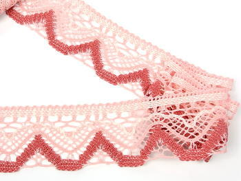 Bobbin lace No. 75301 pink/light creamy/rose | 30 m - 3