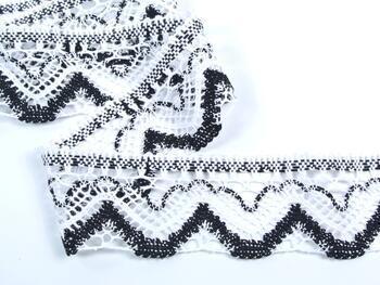 Paličkovaná krajka 75301 bavlněná, šířka58 mm, bílá/černá - 3
