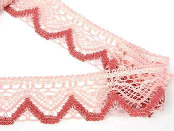 Cotton bobbin lace 75301, width 58 mm, pink/light cream/rose - 3