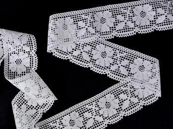 Cotton bobbin lace 75315, width 58 mm, white - 3