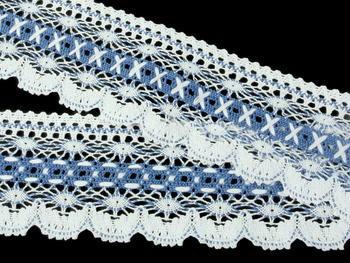Paličkovaná krajka vzor 75335 bílá/blankytně modrá | 30 m - 3