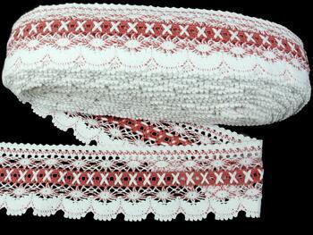 Paličkovaná krajka 75335 bavlněná, šířka75 mm, bílá/starorůž. - 3