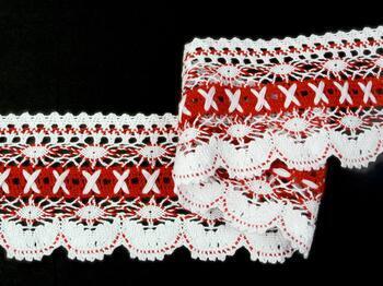 Paličkovaná krajka 75335 bavlněná, šířka75 mm, bílá/červená - 3