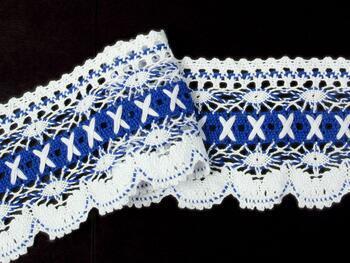 Paličkovaná krajka 75335 bavlněná, šířka 75 mm, bílá/král.modrá - 3