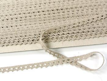 Cotton bobbin lace 75361, width 9 mm, light linen gray - 3