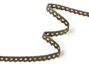 Cotton bobbin lace 75361, width 9 mm, light brown - 3