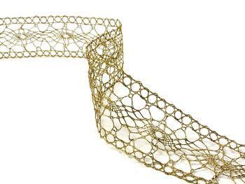 Paličkovaná vsadka 75384 metalická, šířka45mm, Lurex zlatý antik) - 3