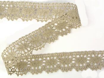 Linen bobbin lace 75394, width 25 mm, 100% linen natural - 3