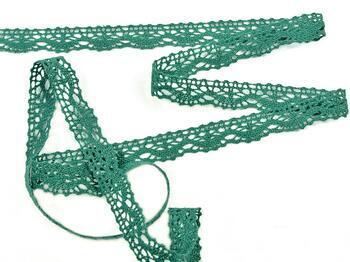 Paličkovaná krajka 75395 bavlněná, šířka16 mm, tm.zelená - 3