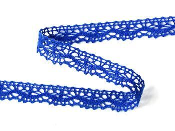 Cotton bobbin lace 75395, width 16 mm, royal blue - 3