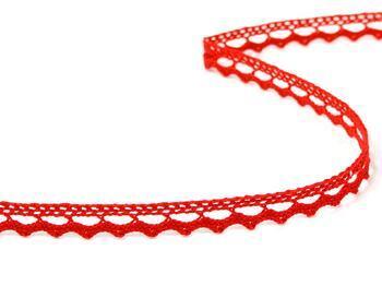 Paličkovaná krajka 75397 bavlněná, šířka9 mm, červená - 3