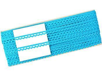 Cotton bobbin lace 75397, width 9 mm, turquoise - 3