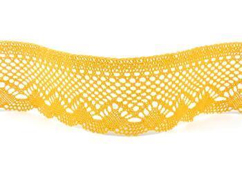 Paličkovaná krajka 75414 bavlněná, šířka55 mm, tm.žlutá - 3