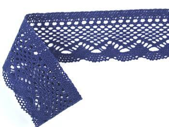 Cotton bobbin lace 75414, width 55 mm, dark blue - 3