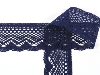Cotton bobbin lace 75414, width 55 mm, black blue - 3