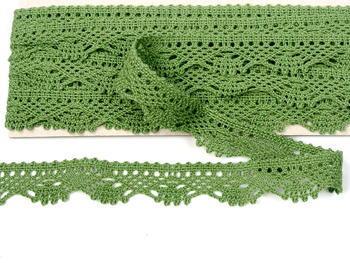 Paličkovaná krajka vzor 75423 zelená olivová - 3