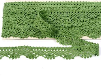Paličkovaná krajka 75423 bavlněná, šířka26 mm, zelená olivová - 3