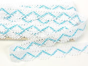 Paličkovaná krajka vzor 75423 bílá/tyrkysová | 30 m - 3