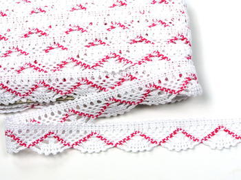 Bobbin lace No. 75423 white/fuchsia | 30 m - 3