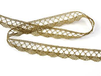 Metalic bobbin lace 75428, width 18 mm, Lurex gold antique - 3
