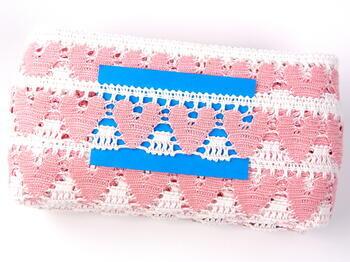 Bobbin lace No. 75438 white/pink | 30 m - 3