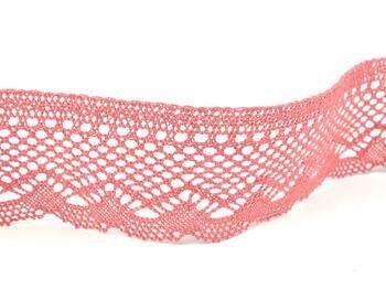 Cotton bobbin lace 75414, width 55 mm, rose - 3