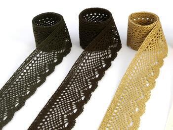 Cotton bobbin lace 75414, width 55 mm, dark brown - 3
