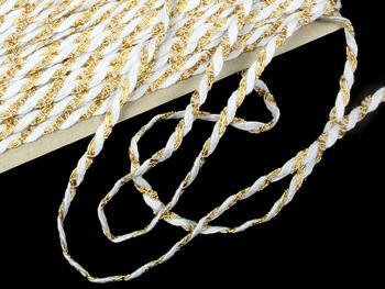 Bobbin lace No. 75481 white/gold | 30 m - 3
