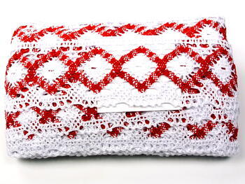 Bobbin lace No. 75608 white/red | 30 m - 3