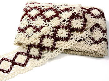 Bobbin lace No. 75608 cream/cranberry | 30 m - 3
