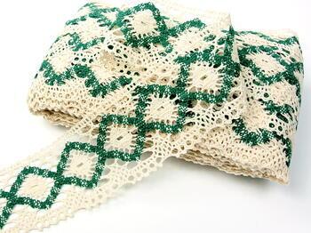 Bobbin lace No. 75608 cream/green | 30 m - 3