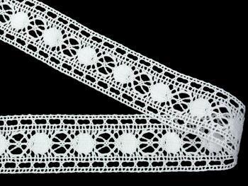 Paličkovaná vsadka vzor 75609 bílá | 30 m - 3