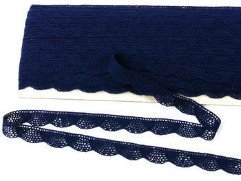 Paličkovaná krajka vzor 75629 tmavě modrá | 30 m - 3