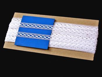 Cotton bobbin lace insert 75182, width13mm, white mercerized - 3