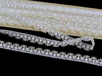 Paličkovaná krajka vzor 81197 bílá/zlatá | 30 m - 3