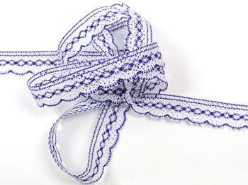 Paličkovaná krajka vzor 81215 bílá/purpurová | 30 m - 3