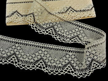 Bobbin lace No. 81735 ecru/dark brown | 30 m - 3